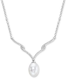 """Cultured Freshwater Pearl (10 x 8mm) & Diamond (1/5 ct. t.w.) 16"""" Collar Necklace in Sterling Silver"""