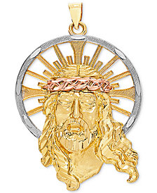 Tricolor Christ Pendant in 14k Gold, White Gold & Rose Gold