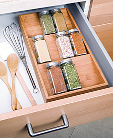 3 Tier Bamboo Spice Rack Cabinet Drawer Tray Organizer
