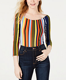PROJECT 28 NYC Off-The-Shoulder Striped Bodysuit