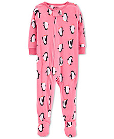 Carter's Toddler Girls Penguin-Print Fleece Footed Pajamas