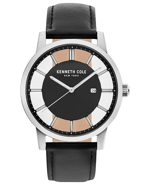 bc8a64fa7db ... Kenneth Cole New York Men s Diamond-Accent Black Leather Strap Watch ...