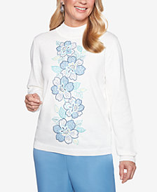 Alfred Dunner Simply Irresistible Floral Appliqué Sweater