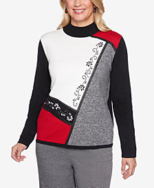 Alfred Dunner Sutton Place Spliced Studded Sweater