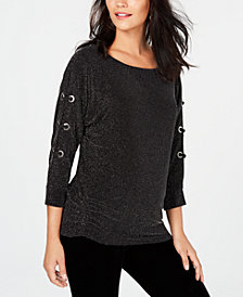 JM Collection Lace-Up-Sleeve Top, Created for Macy's