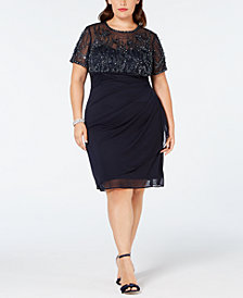 XSCAPE Plus Size Beaded Ruched Shift Dress