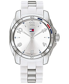 Women's White Rubber & Silver-Tone Bracelet Watch 36mm, Created for Macy's
