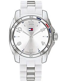 Women's White Rubber & Silver-Tone Bracelet Watch 36mm, Created for Macy's