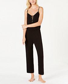 Alfani Lace-Up Print Knit Pajama Jumpsuit, Created for Macy's