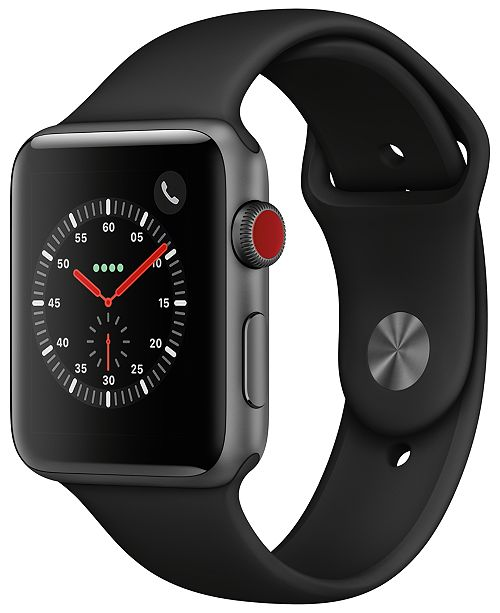 Apple Watch Series 3 Apple Watch Series 3 GPS + Cellular, 42mm Space Gray Aluminum Case with Black Sport Band