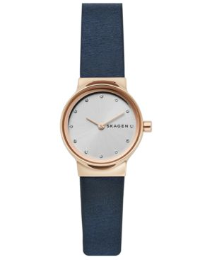 Freja Crystal Accent Leather Strap Watch, 26Mm, Blue/ White/ Rose Gold