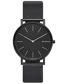 Skagen Men's Signatur Slim Black Stainless Steel Mesh Bracelet Watch 40mm
