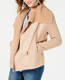 Style & Co Faux-Shearling Draped-Front Jacket, Created for Macy's
