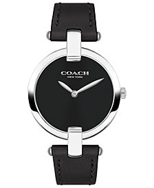 COACH Women's Chrystie Black Leather Strap Watch 32mm