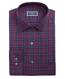 Club Room Men's Classic/Regular Fit Stretch Twill Houndstooth Plaid Dress Shirt, Created for Macy's