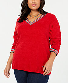 Tommy Hilfiger Plus Size V-Neck Sweater, Created for Macy's