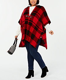 Tommy Hilfiger Plus Size Toggle-Front Poncho Sweater, Created for Macy's
