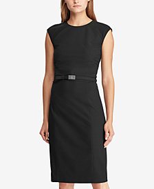 Lauren Ralph Lauren Belted Sleeveless Dress