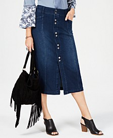 Button-Front Midi Denim Skirt, Created for Macy's
