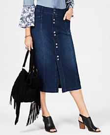 Style & Co Button-Front Straight Jeans Skirt, Created for Macy's