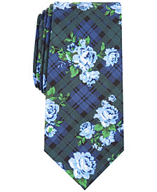 Bar III Men's Rose Tartan Skinny Tie, Created for Macy's
