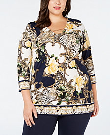 JM Collection Plus Size Printed-Chain Lace-Up Tunic, Created for Macy's