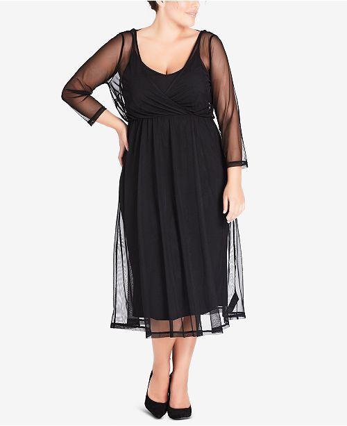City Chic Trendy Plus Size Ribbon-Neck Draped Dress ...