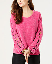 Style & Co Chenille Braided-Detail Sweater, Created for Macy's