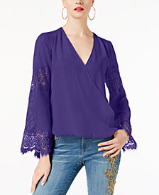 I.N.C. Petite Surplice-Neck Lace-Inset Blouse, Created for Macy's