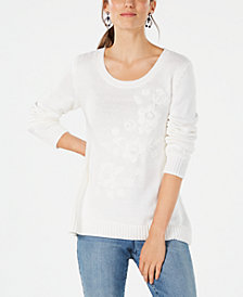Style & Co Floral-Embroidered Sweater, Created for Macy's