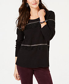 Style & Co Petite Mixed-Media Eyelash Stripe Pullover Sweater, Created for Macy's