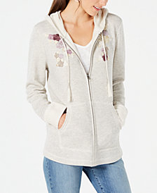 Style & Co Embroidered Zip-Front Hoodie, Created for Macy's