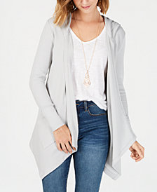 Style & Co Petite Long-Sleeve Drape Front Cozy Cardigan, Created for Macy's