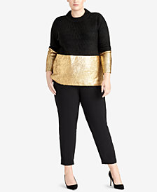 RACHEL Rachel Roy Trendy Plus Size Metallic Sweater