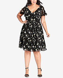 City Chic Plus Size Printed Ruffled Fit & Flare Dress