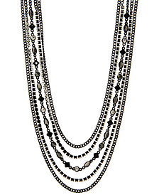 "DKNY Black-Tone Crystal & Stone Multi-Strand 32"" Statement Necklace, Created for Macy's"