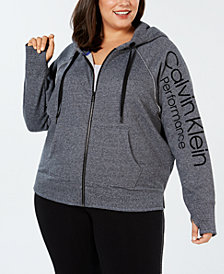Calvin Klein Performance Plus Size Relaxed Fleece Zip Hoodie