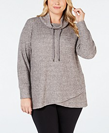 Plus Size Cowl-Neck Tulip-Hem Top, Created for Macy's