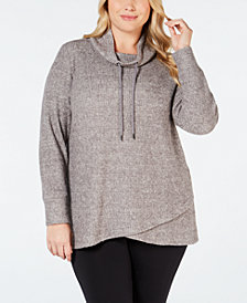 Ideology Plus Size Cowl-Neck Tulip-Hem Top, Created for Macy's