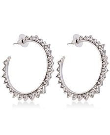 GUESS Silver-Tone Crystal Spike Hoop Earrings