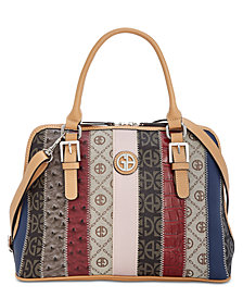 Giani Bernini Patchwork Stripe Dome Satchel, Created for Macy's