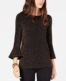 MICHAEL Michael Kors Flared-Sleeve Shimmer Top, in Regular and Petite Sizes