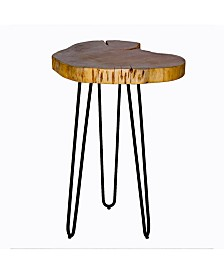 "Alaterre Furniture Hairpin Natural Live Edge Wood with Metal 20"" Round End Table"