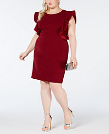 Love Squared Plus Size Glitter-Knit Ruffle-Sleeve Dress