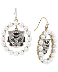 Betsey Johnson Two-Tone Imitation Pearl & Crystal Tiger Orb Earrings