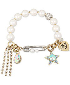 Betsey Johnson Gold-Tone Crystal Star & Stone Imitation Pearl Stretch Bracelet