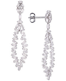 Tiara Cubic Zirconia Baguette Drop Earrings in Sterling Silver