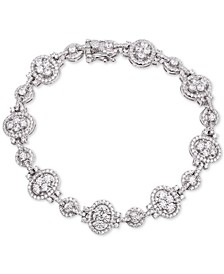 Cubic Zirconia Oval & Round Link Bracelet in Sterling Silver
