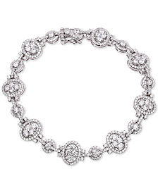 Tiara Cubic Zirconia Oval & Round Link Bracelet in Sterling Silver