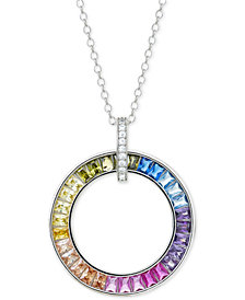 "Giani Bernini Cubic Zirconia Rainbow Circle 18"" Pendant Necklace in Sterling Silver, Created for Macy's"